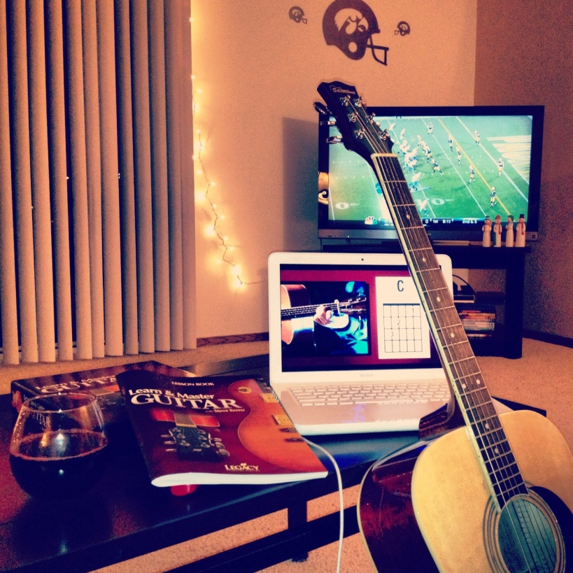 Wine + Packers + quality time with my geetar